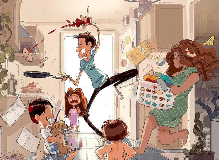 Husband Illustrates The Idyllic Moments Of Everyday Life With His Wife And Kids (30 New Pics)