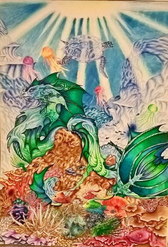 I Drew This Underwater Dragon 4 Years Ago In Pencil. Still My Favourite Fantasy Drawing To Date