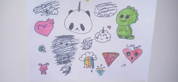My Daughter's Doodles. I Love Them Because Thet Are So Cute.