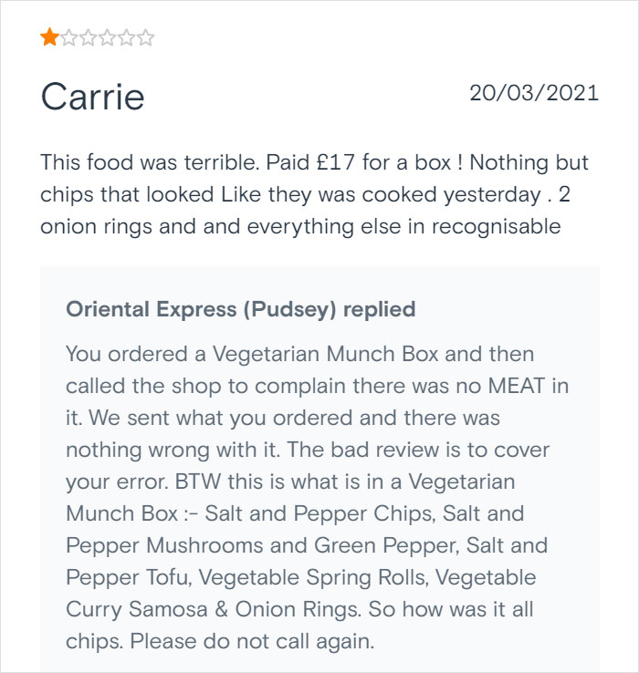 Chinese Takeaway Goes Viral For Its Savage Replies To Bad Customer Reviews