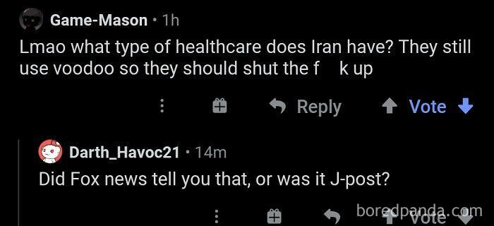 Lmao What Type Of Healthcare Does Iran Have? They Still Use Voodoo So They Should Shut The Hell Up