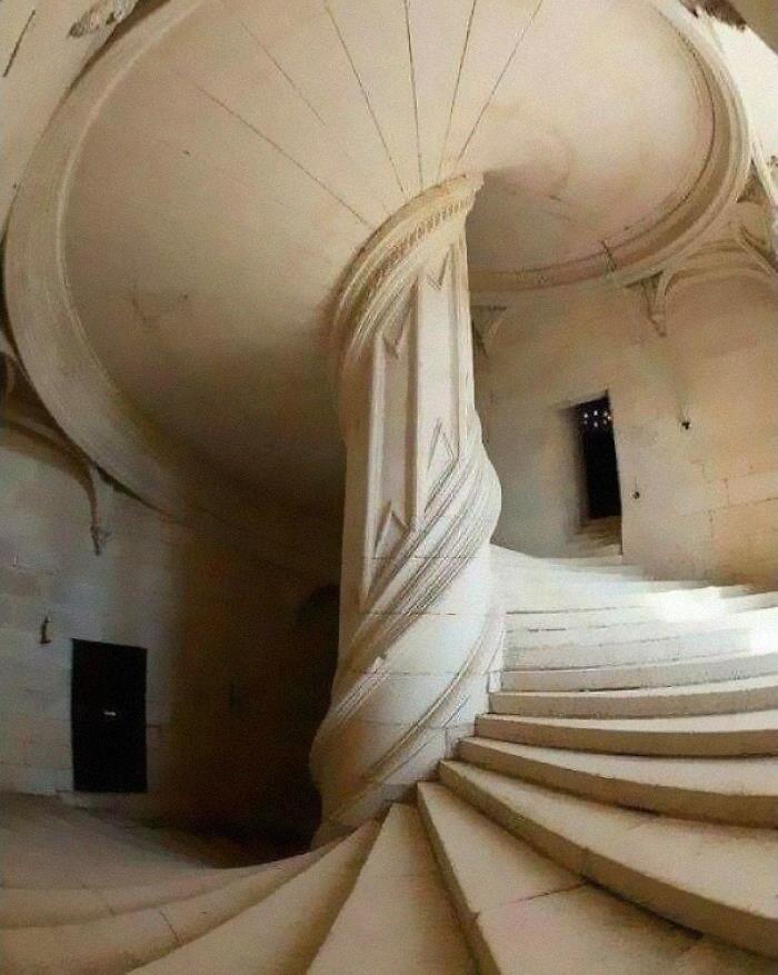 A Spiral Staircase Designed By Leonardo Da Vinci In The Year 1516