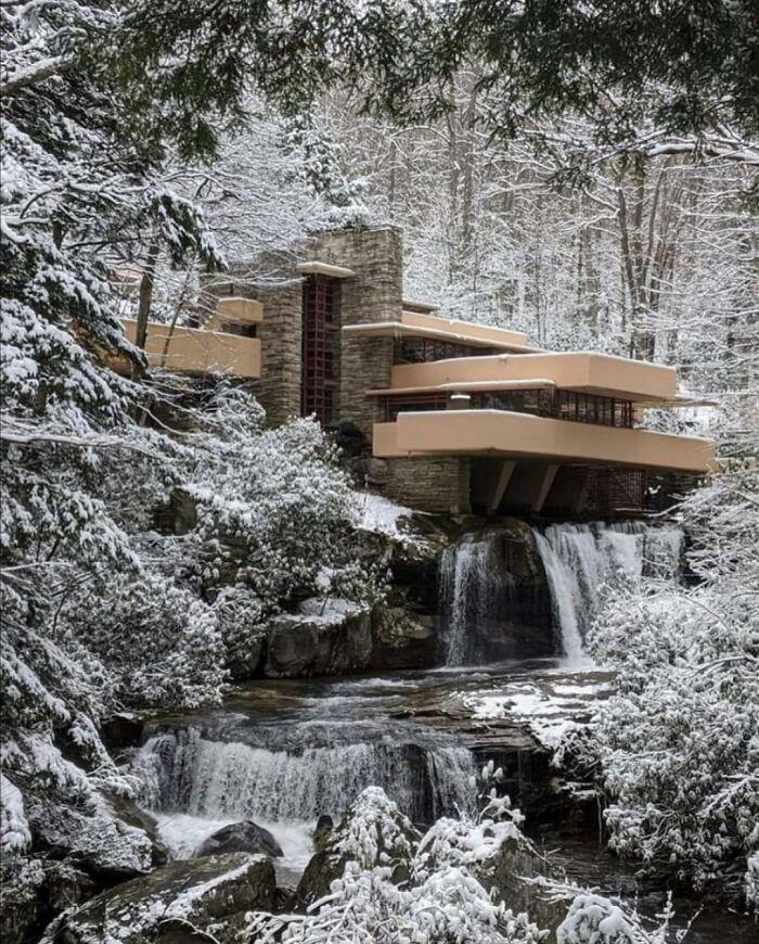 Fallingwater Under Snow, Designed By Frank Lloyd Wright In 1935