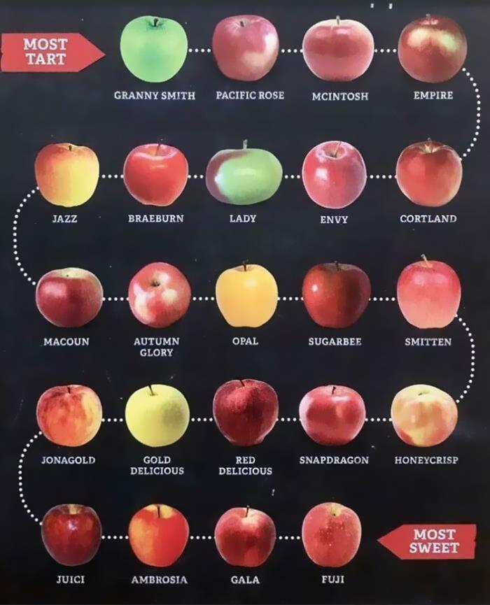 Apples On A Scale From Most Tart To Most Sweet