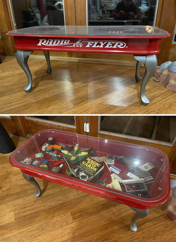 I Made This Showcase Coffee Table By Taking A Radio Flyer Wagon I Purchased On Fb Marketplace And Removed The Wheel And Handle Hardware