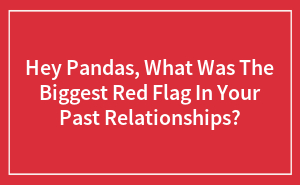 Hey Pandas, What Was The Biggest Red Flag In Your Past Relationships?