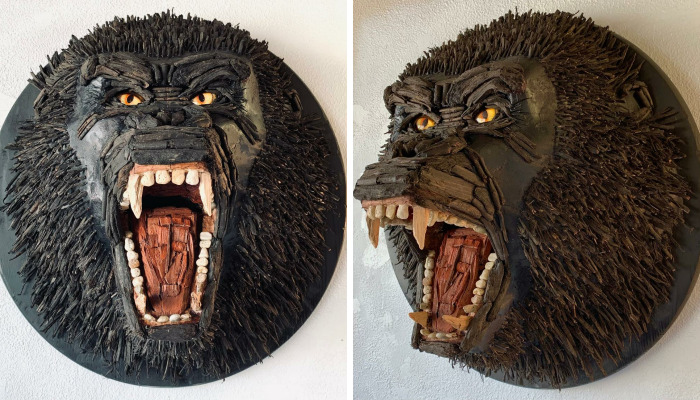 During My Pandemic Free-Time, I Transformed A Bag Of Garden Mulch And 36 Pebbles Into King Kong…