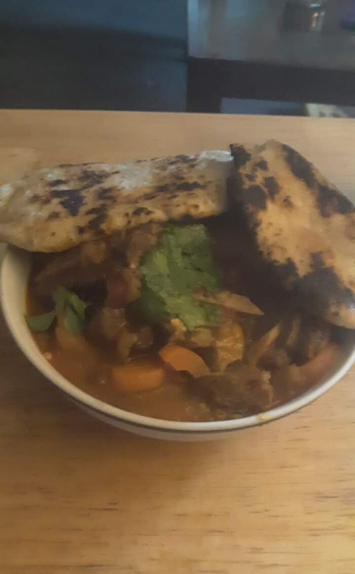 Homemade Goat Curry And Garlic Naan