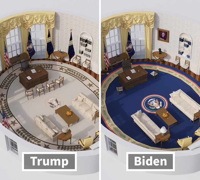 Here Are 3D Renditions Of The Oval Office Of The Past 20 US Presidents