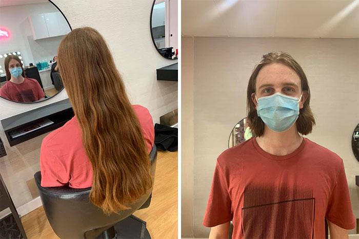 Hoy, miré con orgullo cómo mi hijo de 19 años cortó su pelo para aquellos que perdieron el suyo debido al cáncer