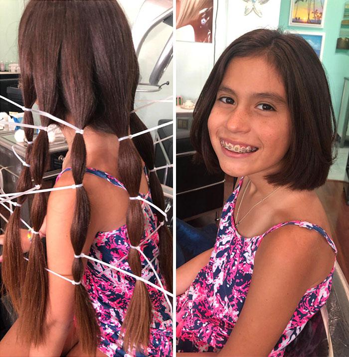 Mi hija donó 30 centímetros de su cabello, que dejó crecer para Pelucas para niños (Wigs for Kids)
