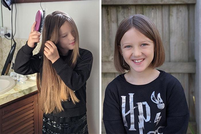 Mi hija de ocho años ha estado dejando crecer su cabello por casi dos años, para donarlo a una organización que hace pelucas para niños con cáncer que no pueden comprarlas