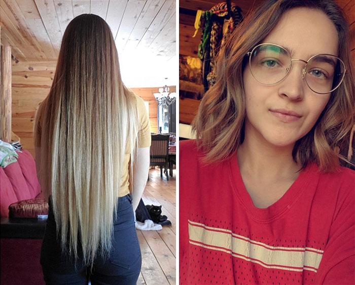Tenía el cabello muy corto, y lo dejé crecer por siete años hasta alcanzar alrededor de 50 centímetros. Mi madrastra falleció de cáncer, yo lo corté para donarlo todo en su memoria