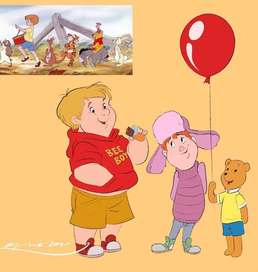 Winnie The Pooh, Piglet & Christopher Robin
