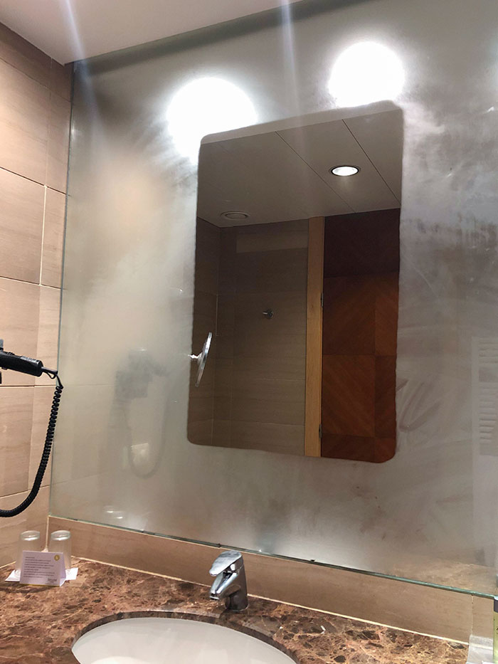 My Hotel Room Bathroom Leaves A Section Of Mirror That Doesn't Steam Up