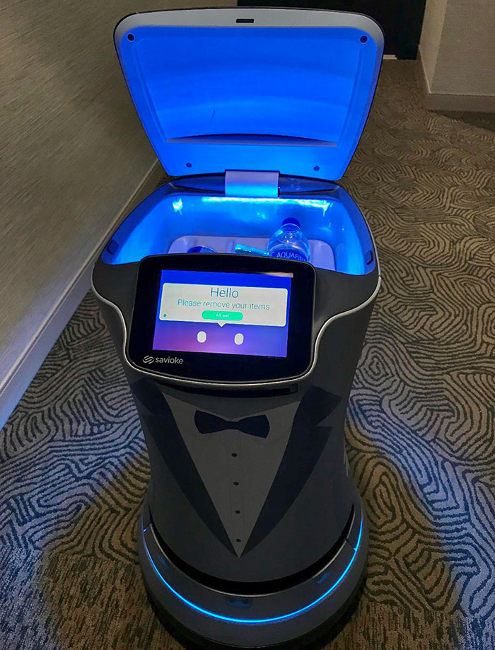 I Ordered Snacks From Room Service And They Sent A Refrigerated Robot Butler To Deliver Them