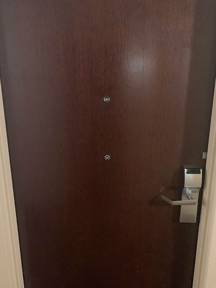 Hotel Door Room Was Changed Today For People Who Uses A Wheelchair With A Lower Peephole
