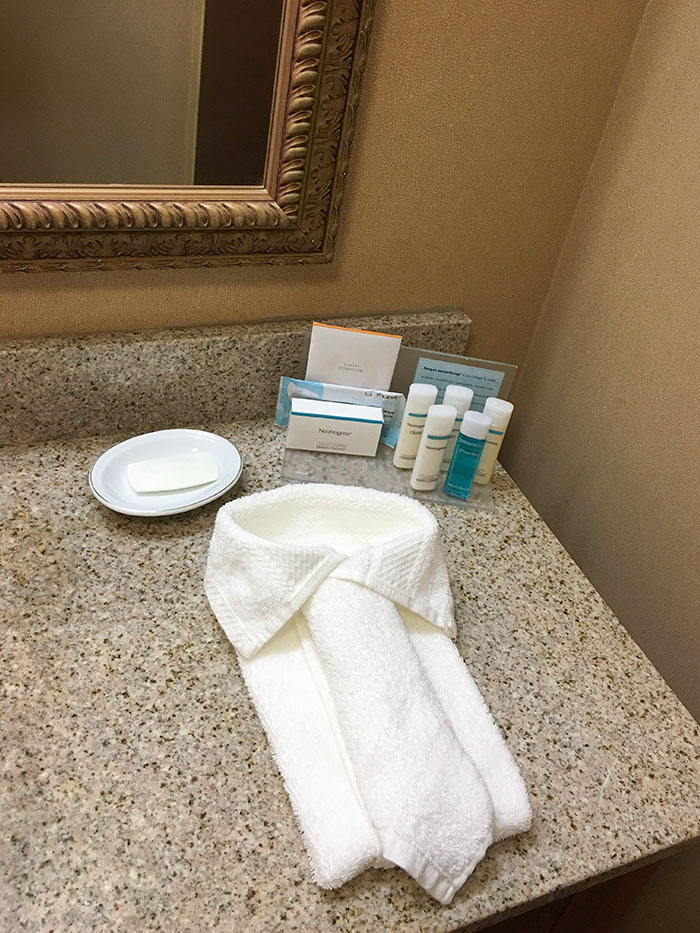The Hand Towels In My Hotel Bathroom Were Folded Like A Shirt And Tie