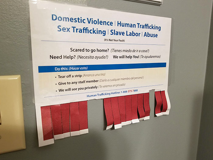 The Bathroom At My Doctor's Office Has A Discreet Way For Victims Of Abuse, Violence, Or Human Trafficking To Get Help