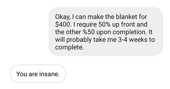 Person Shares How She Shut Down This Annoying Choosing Beggar Who Wanted To Pay $15 For A $400 Blanket