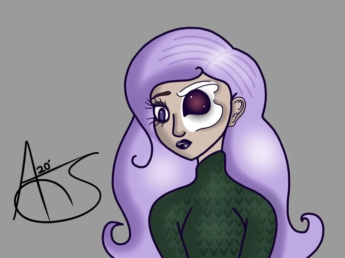 I Tried To Draw A Half Skeleton Girl, And I Think It Turned Out Well.