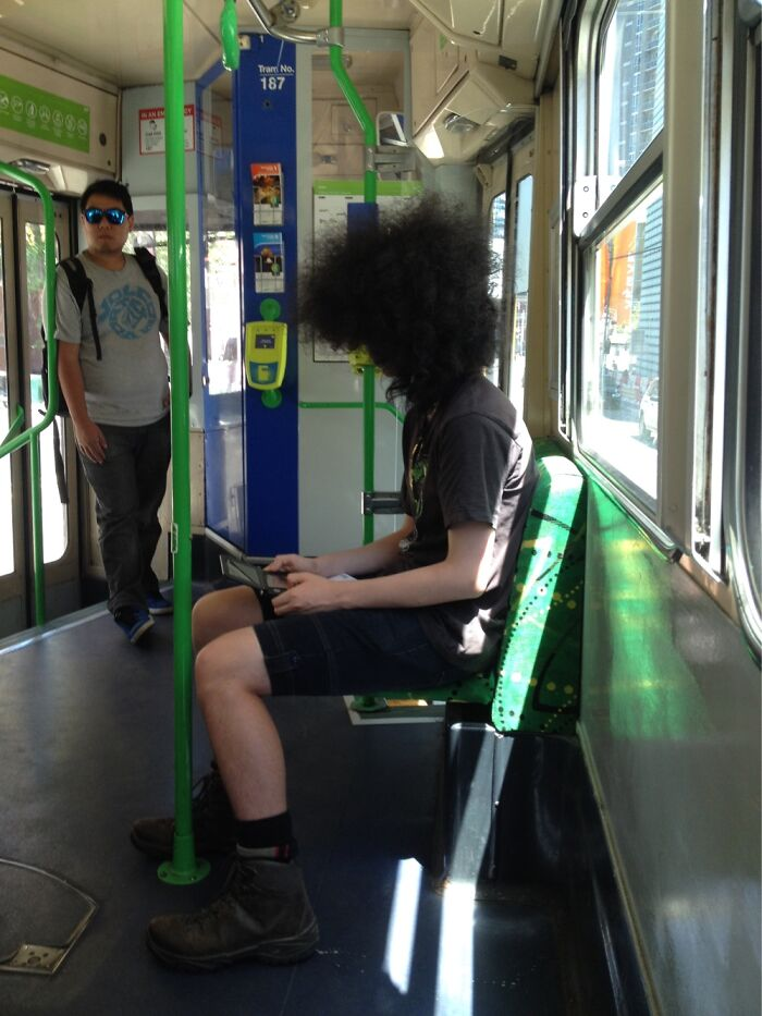 Dude On A Tram, How Can He See?