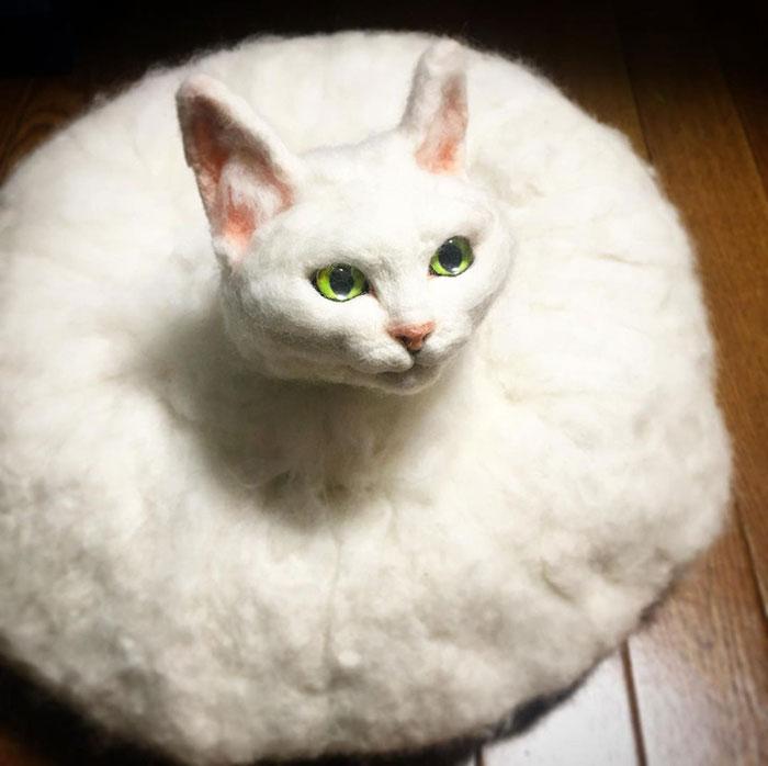 Japanese Felt Artist Combines Art And Technology To Create Creepy Cats (26 Pics)