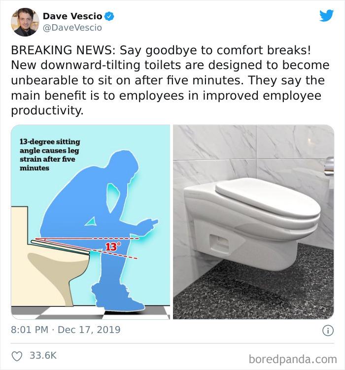 Tilted Bathroom Break