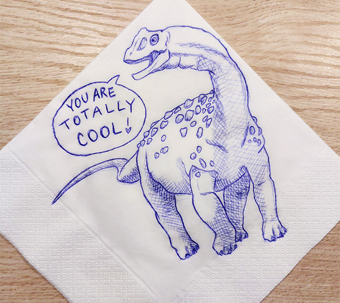 I Draw Supportive Dinosaurs On Napkins For My Kid (30 Pics)