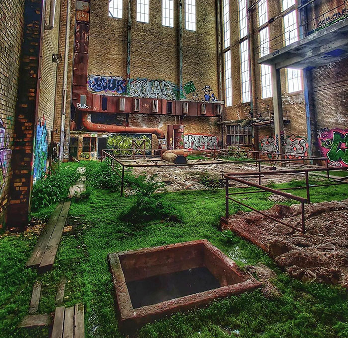 Abandoned Paper Mill With Nature Starting To Take Over