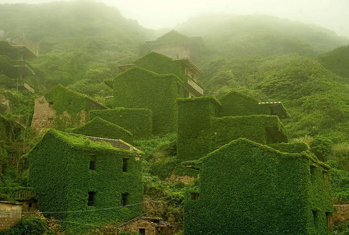 This Chinese Fishing Village Was Abandon In The 1990s. Nature Has All But Reclaimed It (Houtouwan, China)