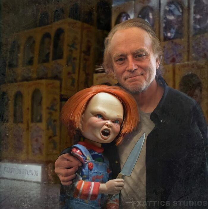 """Chucky y Brad Dourif de """"El muñeco diabólico"""""""