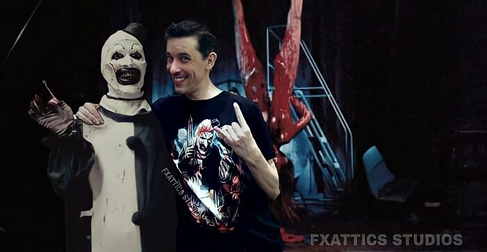 "El payaso Art y David Howard Thornton de ""Terrifier"""