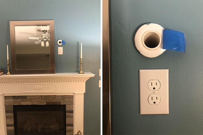 """Casa nueva, ¡y estamos perplejos! ¿Qué es este agujero/ventilación sobre nuestra chimenea? Cuando quitamos la cinta azul, podemos sentir el aire fresco que entra (estamos en el sur de Estados Unidos, por lo que no es """"frío"""", pero definitivamente se siente el aire exterior)"""