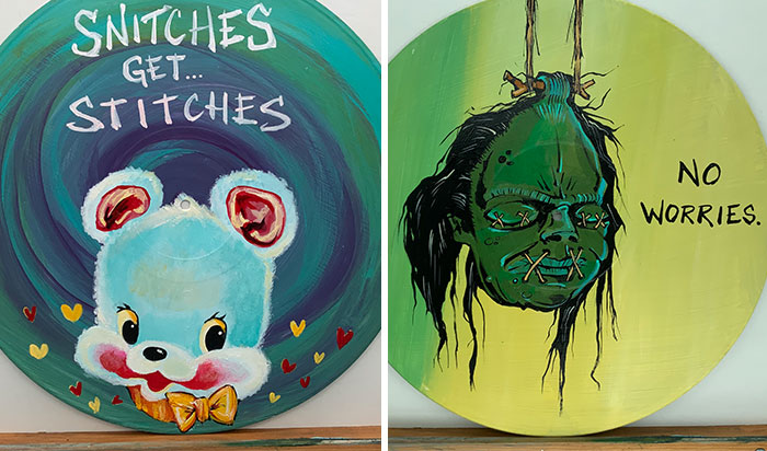I Salvage Vinyl Records That Don't Work Anymore And Create Art On Them (20 Pics)