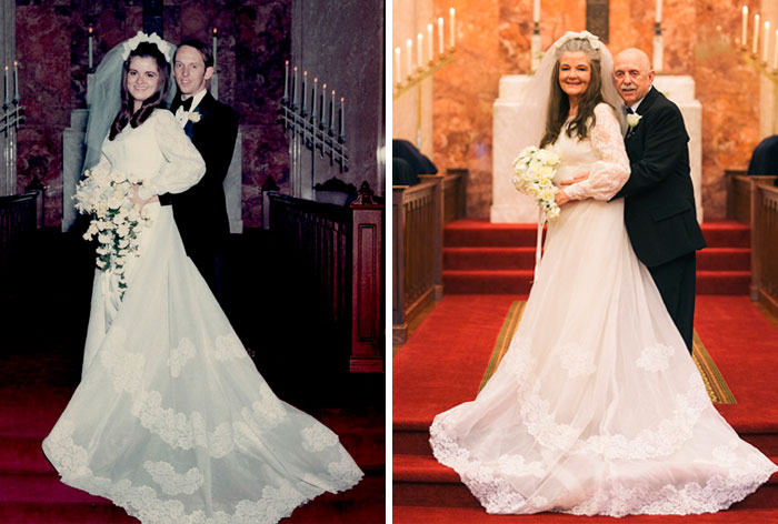 Then And Now: Couple Recreates 12 Wedding Photos After 50 Years Of Being Married