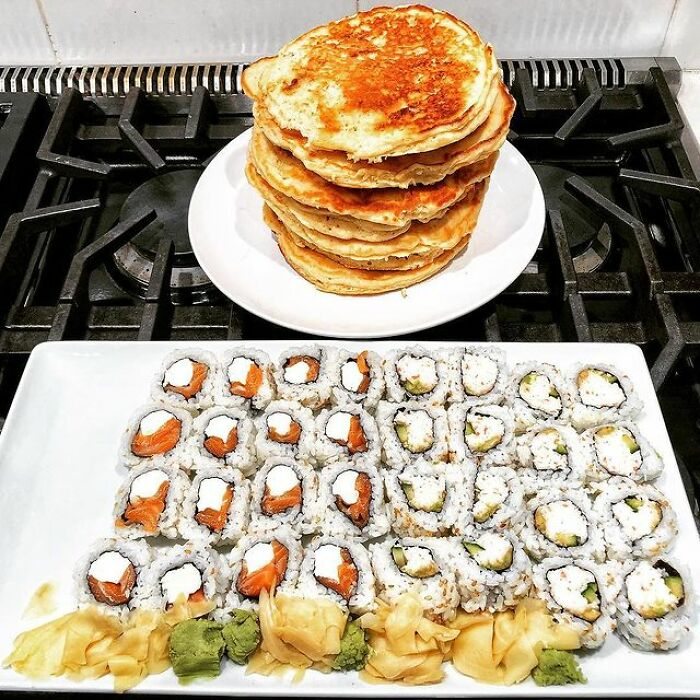 Sushi And Banana, Chocolate Chip Pancakes For A Late-Night Cheat Meal