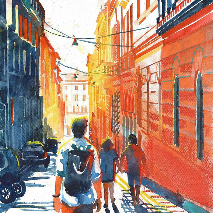I Painted 21 Watercolors That Show How The Sun And Shadows Change Cities
