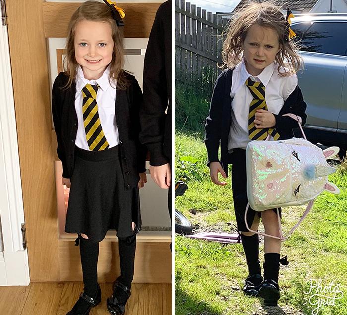 El primer día de escuela le pasó factura a esta niña