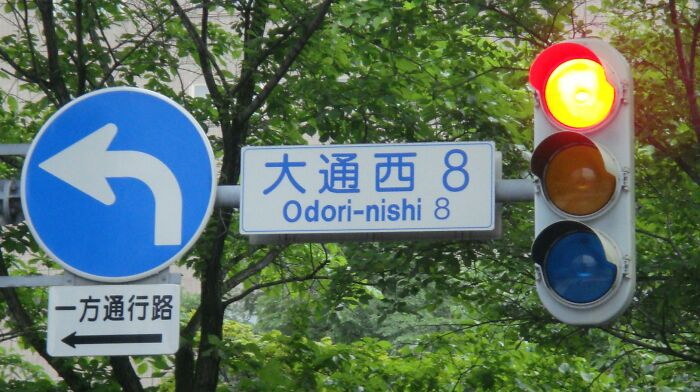 In Japan, Traffic Lights Seem To Be Blue