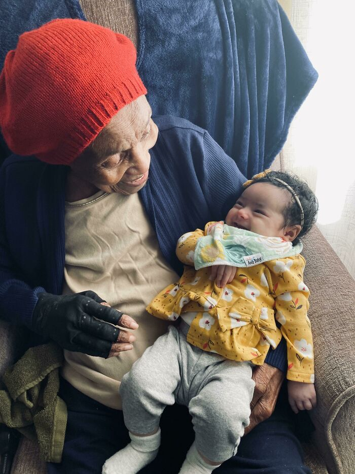 My Great Grandma, Who Turned 103 On Valentine's Day, Laughing With My 2-Month-Old Daughter