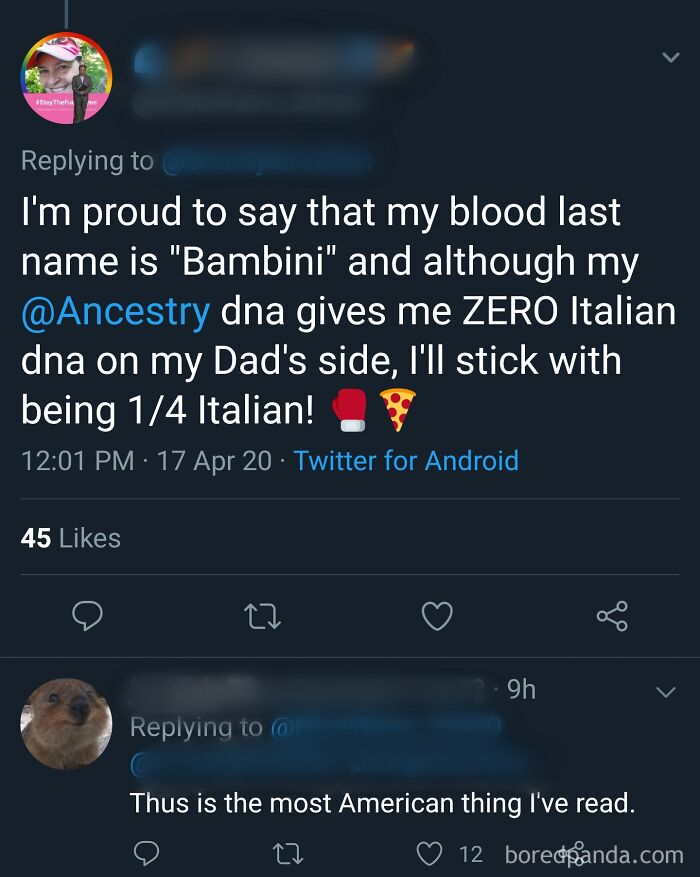 """""""[...]although My Ancestry Dna Gives Me Zero Italian Dna On My Dad's Side, I'll Stick With Being 1/4 Italian!"""""""