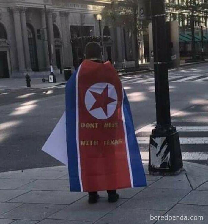 (Sad) Mistake A North Korean Flag For A Texan Flag