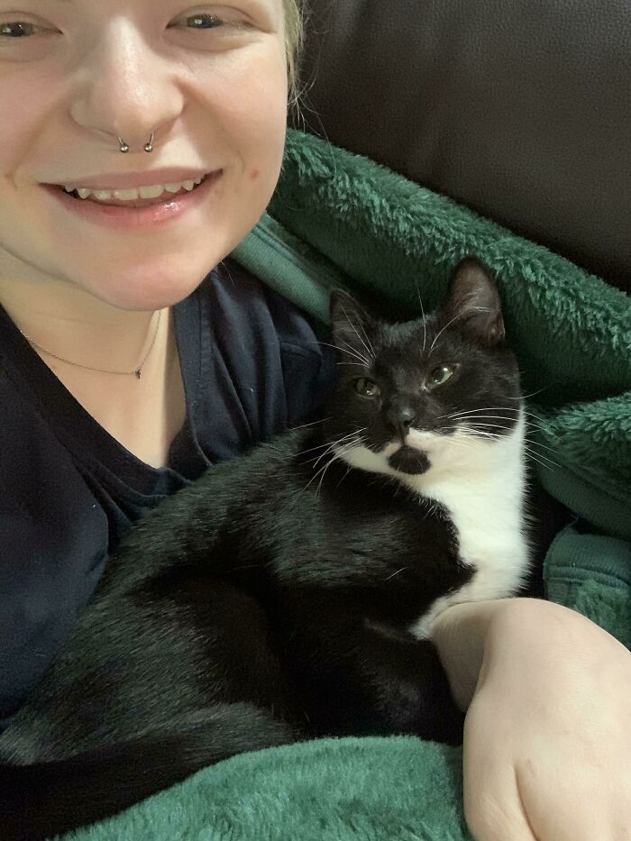 Adopted This Lil Guy A Few Weeks Ago, He Was The Last Of His Litter Adopted Because He Was So Shy. Now He Won't Leave Me Alone!