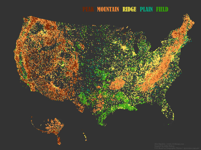 Place Names That Contain The Word 'Peak', 'Mountain', 'Ridge', 'Plain' And 'Field' In The United States