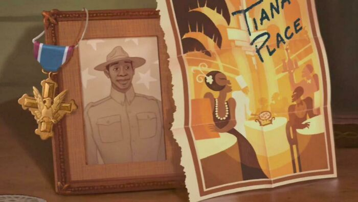In Disney's Princess And The Frog (2009),tiana's Dad Received The Dsc (Distinguished Service Cross)—the Us Army's Second Highest Award For Valor. During Wwi African-American Soldiers Often Did Not Receive America's Highest Recognition For Bravery—the Medal Of Honor