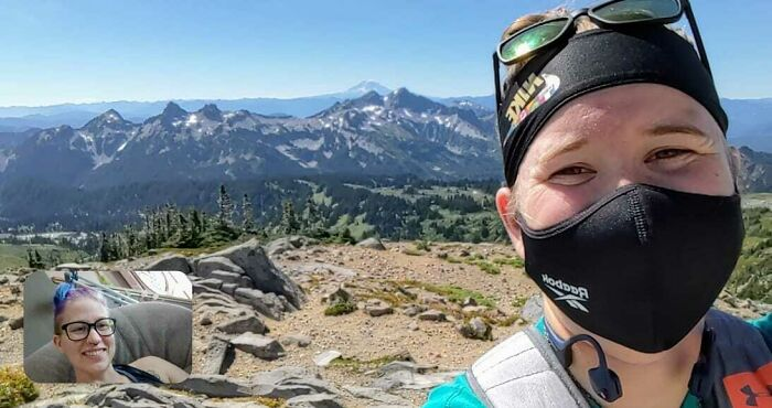 I'm Laid Up From A Major Knee Surgery A Week Ago. So Today, My Wife Hiked Up Mt. Rainier By Herself And Video Called Me So I Could See A Beautiful View