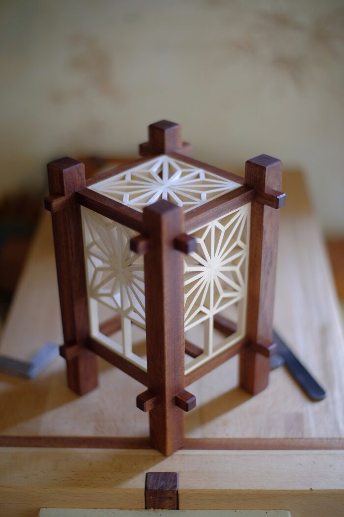 Hope You All Like This Kumiko Lamp I've Been Working On - Hand Tools Only With My Tiny Workbench