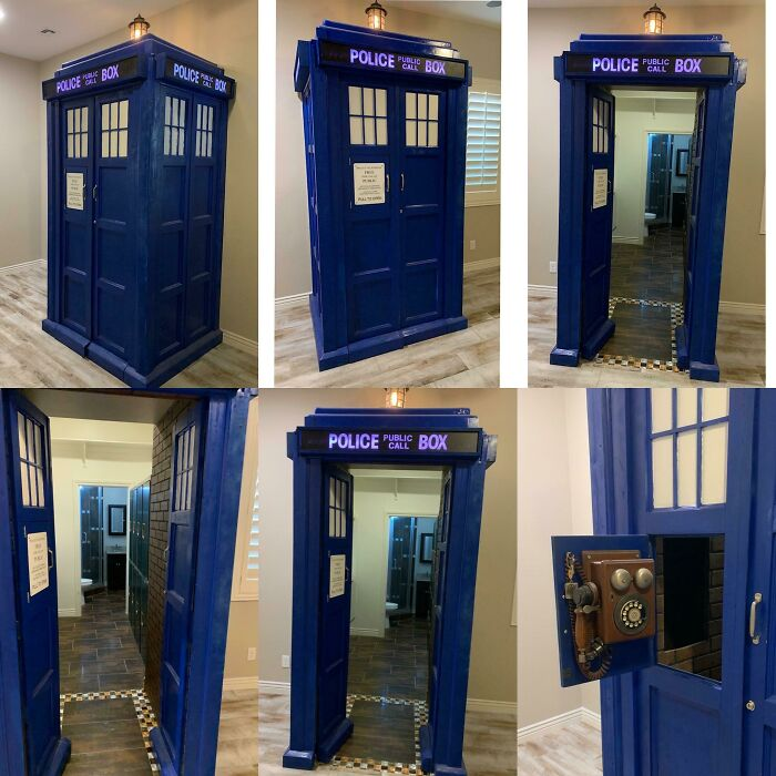 Secret Room Tardis. Our Son Always Wanted A Secret Room So I Built Him This Dr Who Tardis. It's Bigger On The Inside!