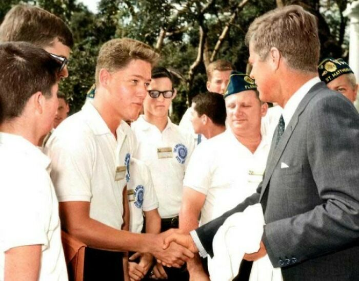 JFK & Bill Clinton Greeting At The White House, In 1963
